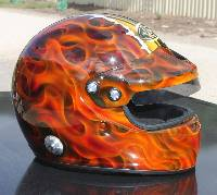Flamed-helmet